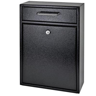Olympus Locking Wall-Mount Drop Box with High Security Reinforced Patented Locking System, Black