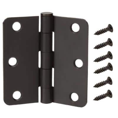 3.5 in. x 1/4 in Matte Black Squeak Free Door Hinge (48-Pack)