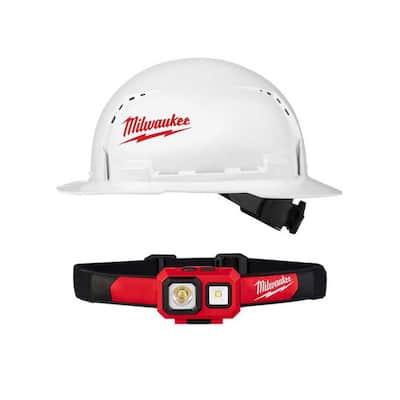 450 Lumens LED Spot/Flood Headlamp with BOLT White Type 1 Class C Full Brim Vented Hard Hat