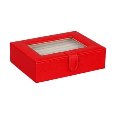 Cole Glass Top Fashion Jewelry Box and Ring Case in Textured Red Faux Leather