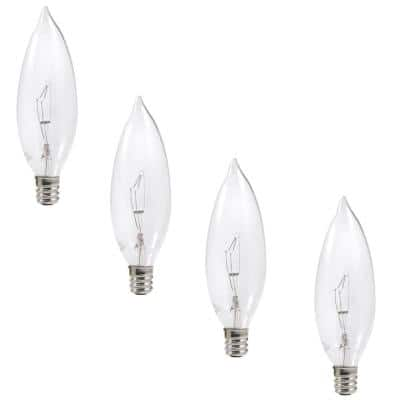 25 Watt B10 Double Life Incandescent Light Bulb in 2700K Soft White Color Temperature (4-Pack)