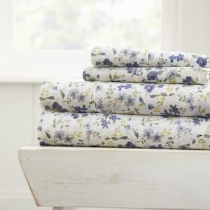 Home Collection 4-Piece Light Blue Floral Microfiber California King Sheet Set