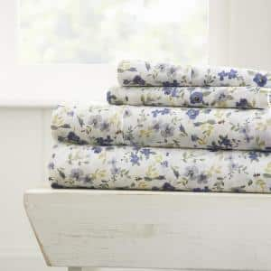 Home Collection 4-Piece Light Blue Floral Microfiber King Sheet Set
