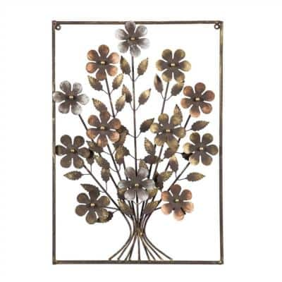 Metal Flower with Frame Wall Decor