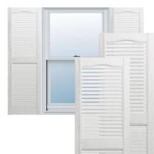 14-1/2 in. x 60 in. Lifetime Open Louvered Vinyl Standard Cathedral Top Center Mullion Shutters Pair in White