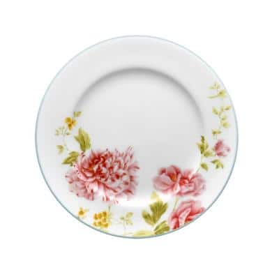 Peony Pageant White Bone China Bread and Butter/Appetizer Plate 6-1/2 in.