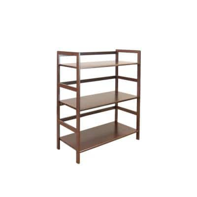34 in. H Brown Wood 3-shelf Etagere Bookcase with Open Back Bamboo Frame