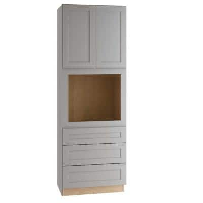 Tremont Assembled 33x90x24 in. Plywood Shaker Oven Kitchen Cabinet Soft Close in Painted Pearl Gray