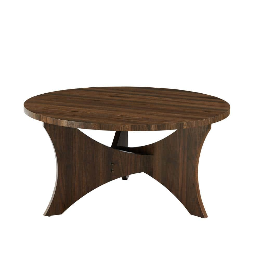 Welwick Designs 36 In Dark Walnut Wood Intersecting Tri Leg Coffee Table Hd8782 The Home Depot