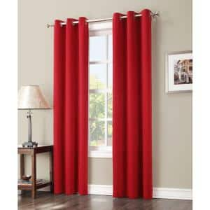 Red Woven Thermal Blackout Curtain - 40 in. W x 63 in. L