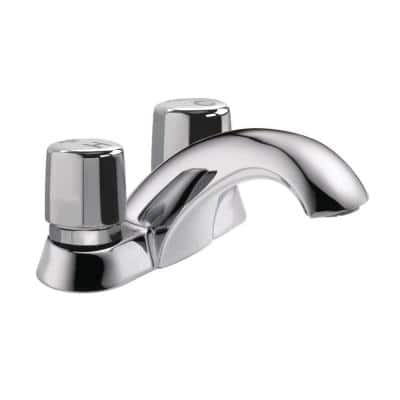 Commercial 2-Handle Metering Utility Faucet in Chrome