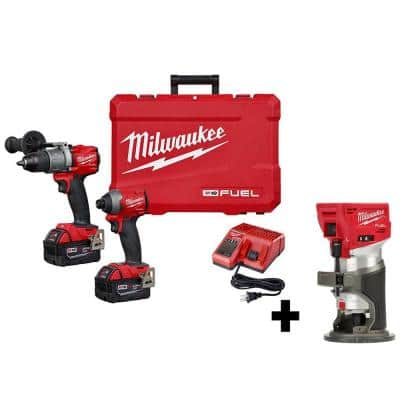 M18 FUEL 18-Volt Lithium-Ion Brushless Cordless Hammer Drill and Impact Driver Combo Kit (2-Tool) W/ Router