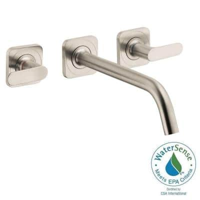 Citterio M 2-Handle Low-Arc Wall Mount Bathroom Faucet in Brushed Nickel