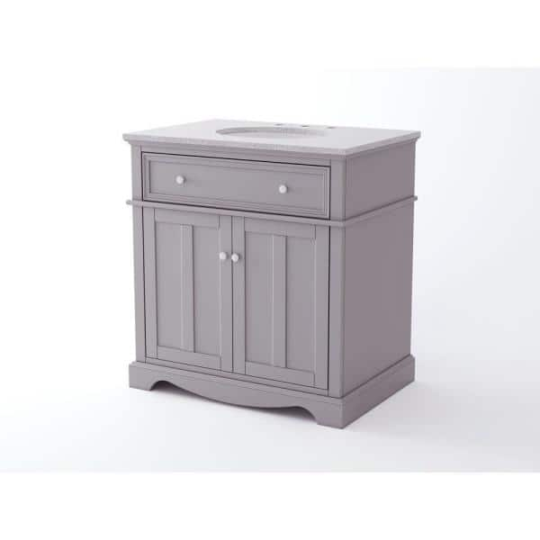 Home Decorators Collection Fremont 32 In W X 22 In D Vanity In Grey With Granite Vanity Top In Grey With White Sink Md V1789 The Home Depot