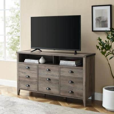 52 in. Grey Wash Composite TV Stand Fits TVs Up to 56 in. with Storage Doors