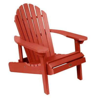 Hamilton Rustic Red Folding and Reclining Plastic Adirondack Chair
