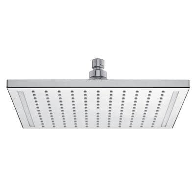 Quadrolight 1-Pattern 2.5 GPM 11.81 in. Ceiling Mount Square Shower Head with LED Light in Chrome