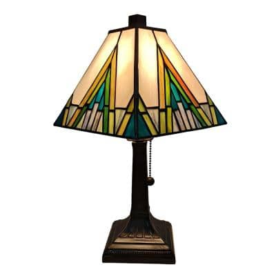Tiffany 14.5 in. Green and Ivory Table Lamp with Stained Glass Shade