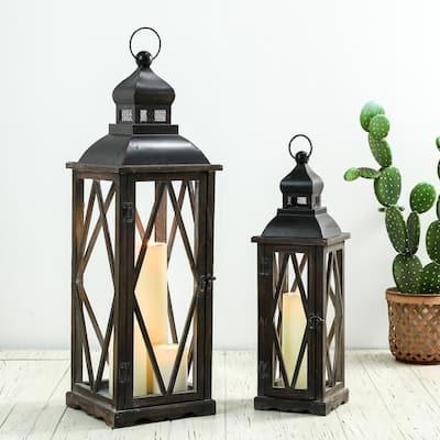 Black Farmhouse Wooden Lanterns With Diamond Window Frame (Set of 2)