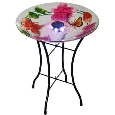 Outdoor 18 in. Glass Hand Painted Flower Fusion Solar Bird Bath with Stand