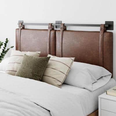 Harlow 62 in. Vintage Brown Queen Wall Mount Faux Leather Upholstered Headboard Adjustable Straps and Black Metal Rail