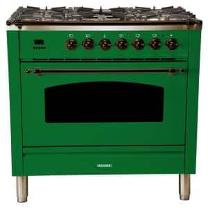 36 in. 3.55 cu. ft. Single Oven Italian Gas Range with True Convection, 5 Burners, Griddle, Bronze Trim in Emerald Green