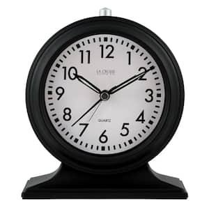 Silent Sweep Black Mantel Quartz Alarm Clock