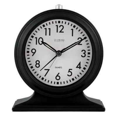 Silent Sweep Black Mantel Alarm Clock