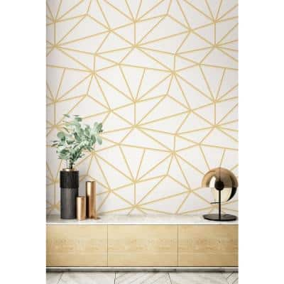 Quartz Metallic Gold And Off-White Geometric Paper Strippable Wallpaper Roll (Covers 60.75 Sq. Ft.)
