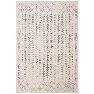 Tulum Ivory/Gray 6 ft. x 9 ft. Border Tribal Diamonds Area Rug