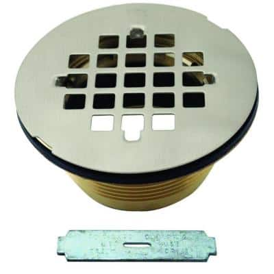 2 in. Brass Shower Drain with Grid, Satin Nickel