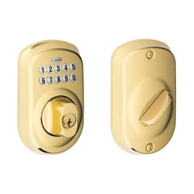 Plymouth Bright Brass Keypad Electronic Door Single Cylinder Deadbolt