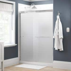 Simplicity 60 in. x 70 in. Semi-Frameless Traditional Sliding Shower Door in Chrome with Niebla Glass