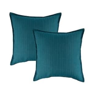 Sunbrella Dupione Deep Sea Solid 20 in. x 20 in. Throw Pillow (Set of 2)