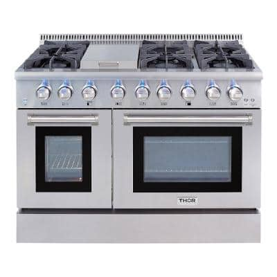 Pre-Converted Propane 48 in. 6.7 cu. ft. Double Oven Dual Fuel Range in  Stainless Steel