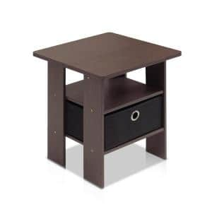 Dark Brown and Black Storage End Table