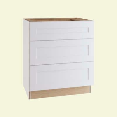 Newport Assembled 24x34.5x24 in Plywood Shaker 3 Drawer Base Kitchen Cabinet Soft Close Drawers in Painted Pacific White