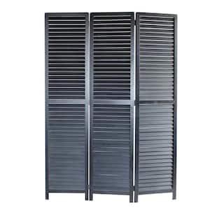 Louvertie 5.5 ft. Black 3-Panel Room Divider