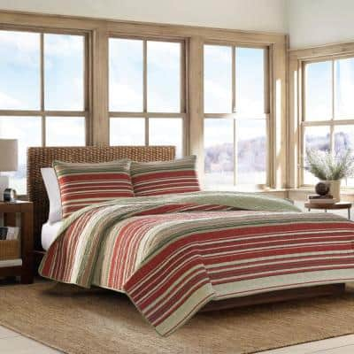 Yakima Valley 2-Piece Red Striped Cotton Twin Quilt Set