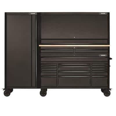61 in. W x 23 in. D Heavy-Duty 15-Drawer Mobile Workbench with 2-Drawer Riser, Hutch and Side Locker