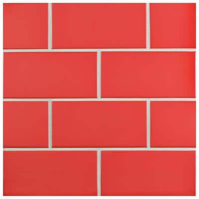 Park Slope Apple Red 3 in. x 6 in. Ceramic Wall Subway Tile (19.18 sq. ft. / case)