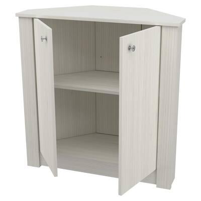 32.09 in.Washed Oak Wood 2-shelf Corner Bookcase