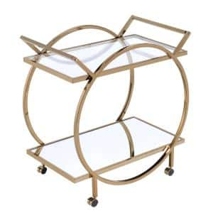 Gold and Clear Metal Serving Cart with Mirrored Open Shelf and Tubular Angled Handles