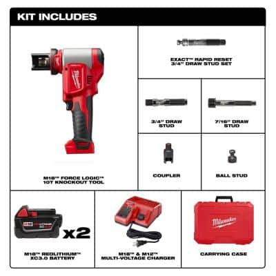 M18 18-Volt Lithium-Ion Cordless FORCE LOGIC Knockout Kit with (2) 3.0Ah Batteries, Charger, Hard Case