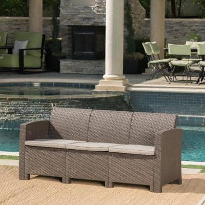 St. Paul Brown 3-Piece Wicker Outdoor Couch with Mixed Beige Cushions