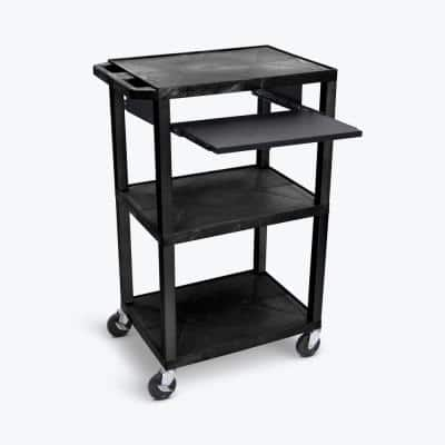 42 in. H AV Cart- 3-Shelves, Pullout Shelf, Recycled Molded Plastic 4 in. Casters in Black