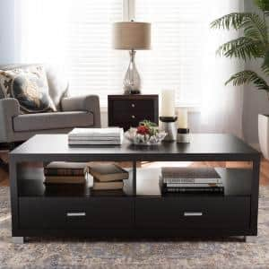 Derwent 47 in. Dark Brown Large Rectangle Wood Coffee Table with Drawers