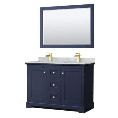 Avery 48 in. W x 22 in. D Double Vanity in Dark Blue with Marble Vanity Top in Carrara with Square Basins and Mirror