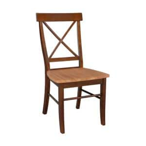 Distressed Pecan X-Back Dining Chairs (set of 2)