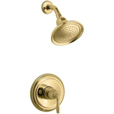 Devonshire 1-Handle Wall-Mount Shower Valve Trim Kit in Polished Brass (Valve not included)
